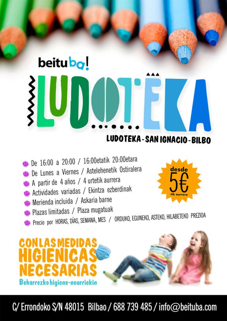 Cartel servicio ludoteca en Sarriko, san Ignacio, Bilbao